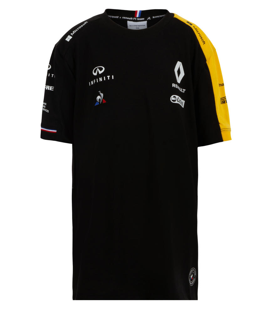 2019 Renault F1 Team Kids Childrens T-Shirt BLACK 100% Cotton Tee in Ages 5-14
