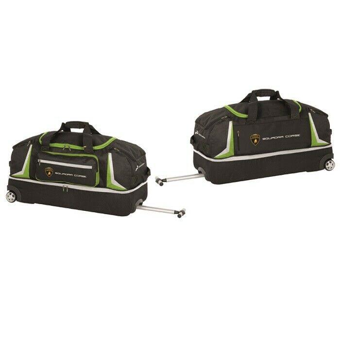 Lamborghini Squadra Corse Black Wheeled Airport Travel Bag Team Luggage Holdall