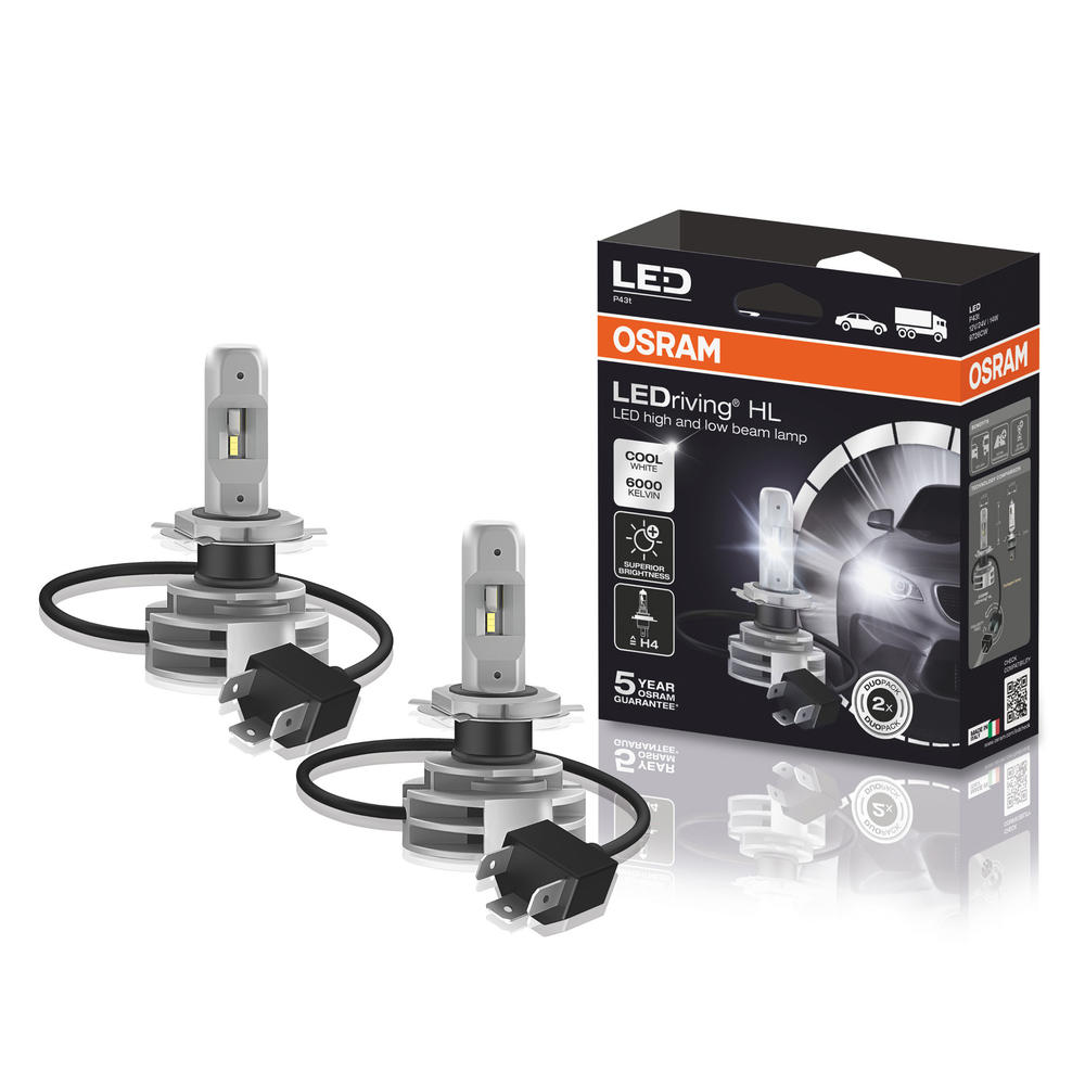 Osram 6000K Cool White H4 LED Headlight Bulb Kit to replace H4 Halogen 9726CW
