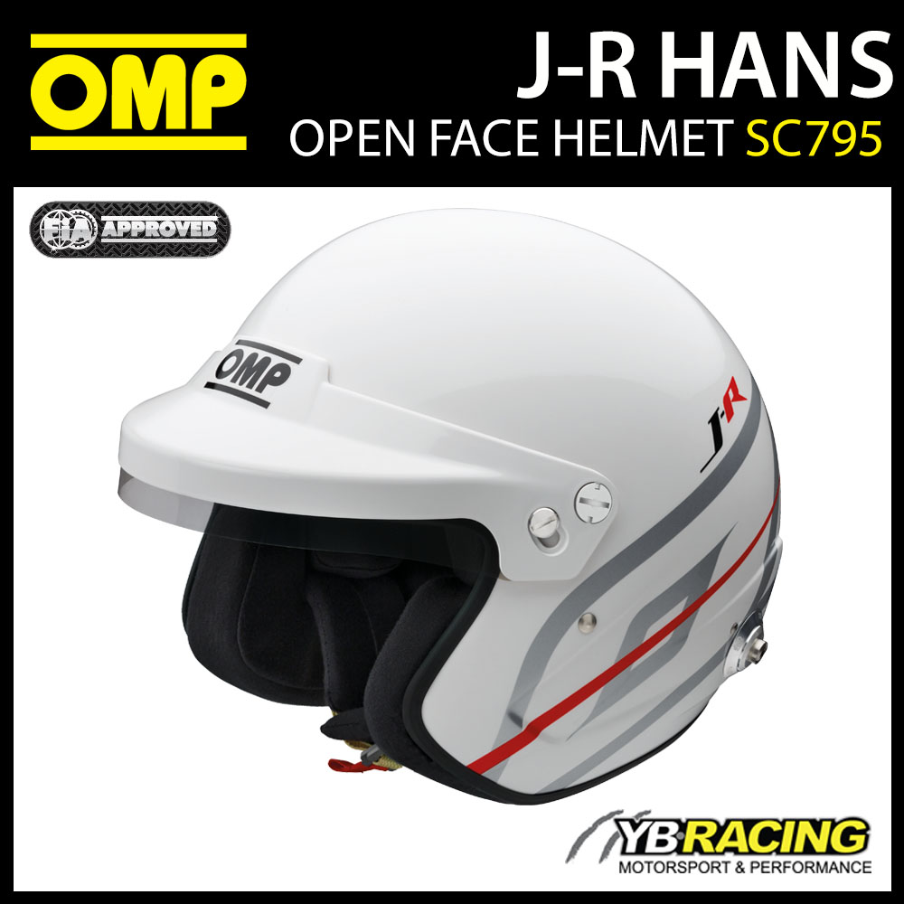 SC795 OMP Racing J-R HANS Jet Open Face Race Rally Helmet FIA 8859-2015 Approved