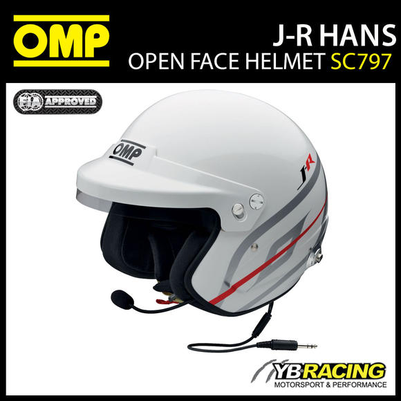 SC797 OMP J-R Helmet Hans Intercom Casco Jet Open Face Race FIA 8859-2015