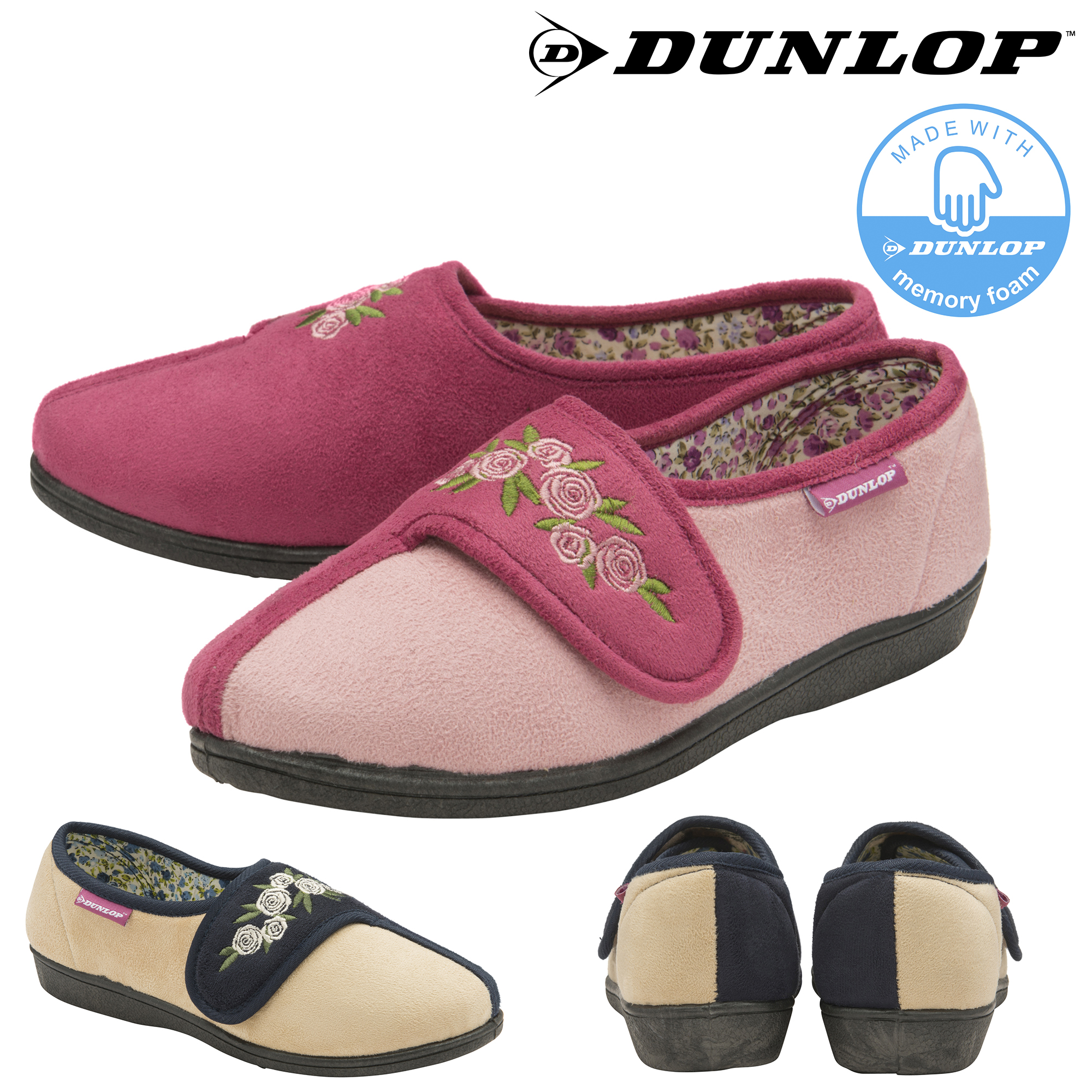 Dunlop Ladies Womens Slippers Easy Fastening Slip On Machine Washable Size 3-8
