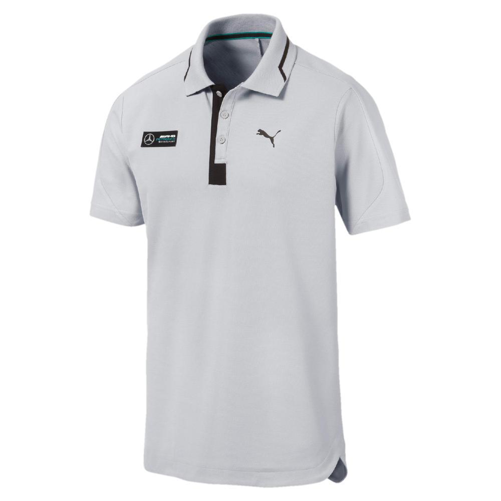 Mercedes AMG Petronas F1 Puma Mens Polo Shirt SILVER Tee Sizes XS-XXL