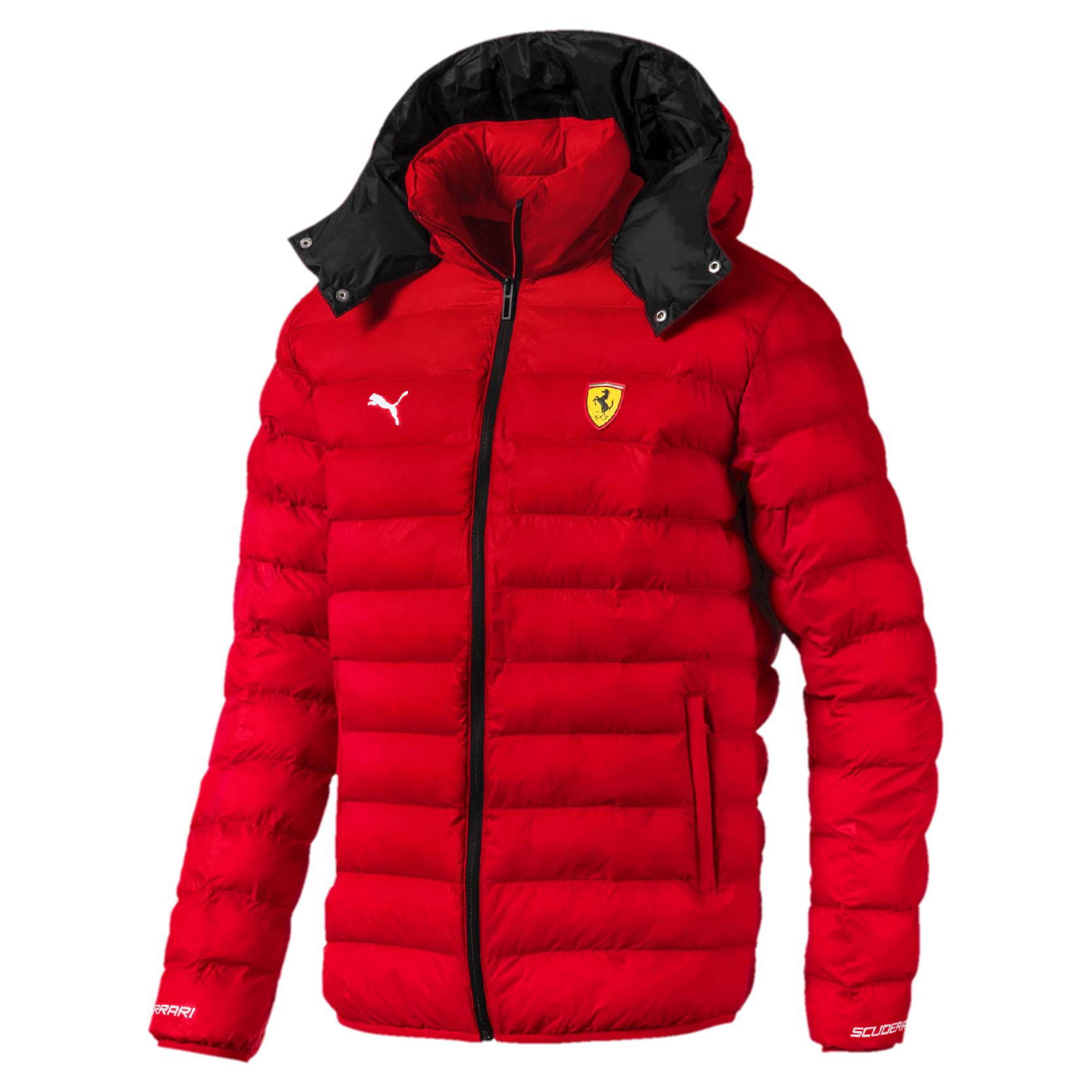 Scuderia Ferrari Puma Mens Jacket Packlite Zip Up Hooded Coat RED Sizes  XS,XXL