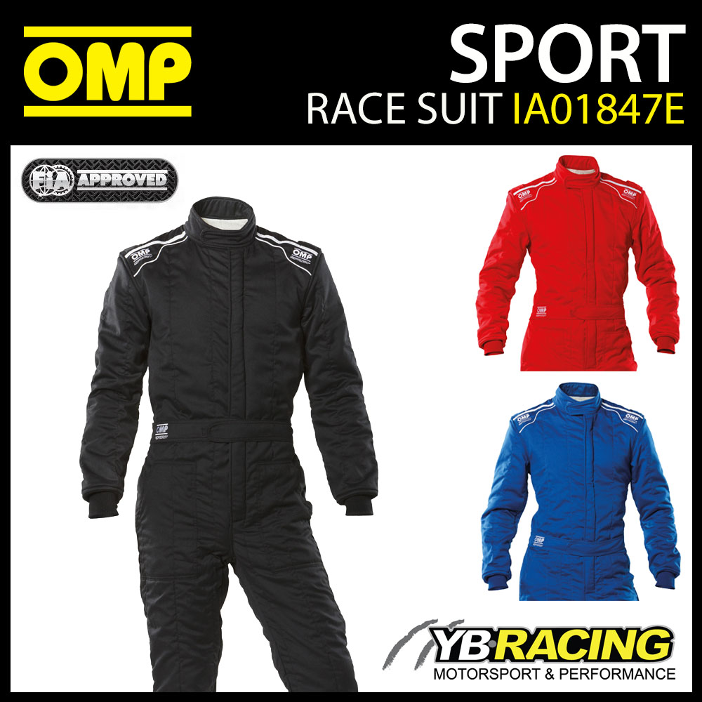 IA01847E OMP SPORT RACE SUIT ENTRY LEVEL OVERALLS NOMEX FIREPROOF FIA 8856-2000