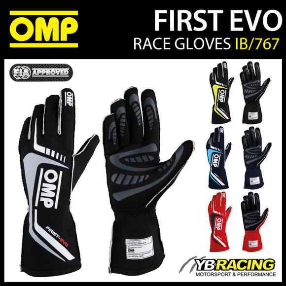 IB/767 OMP FIRST EVO RACING GLOVES FIREPROOF RACE RALLY MOTORSPORT FIA 8856-2018