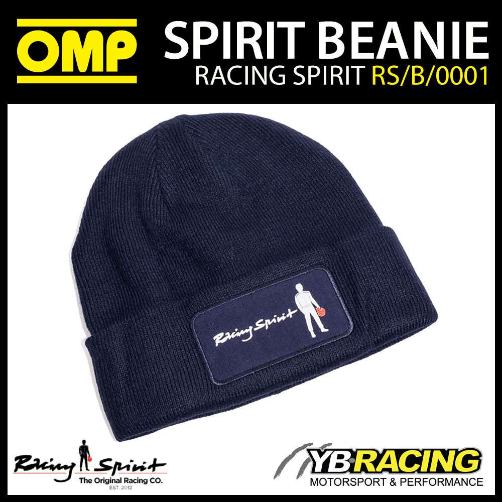 New! OMP Racing Spirit Beanie Hat 100% Acrylic Knit Navy Blue Adult One Size