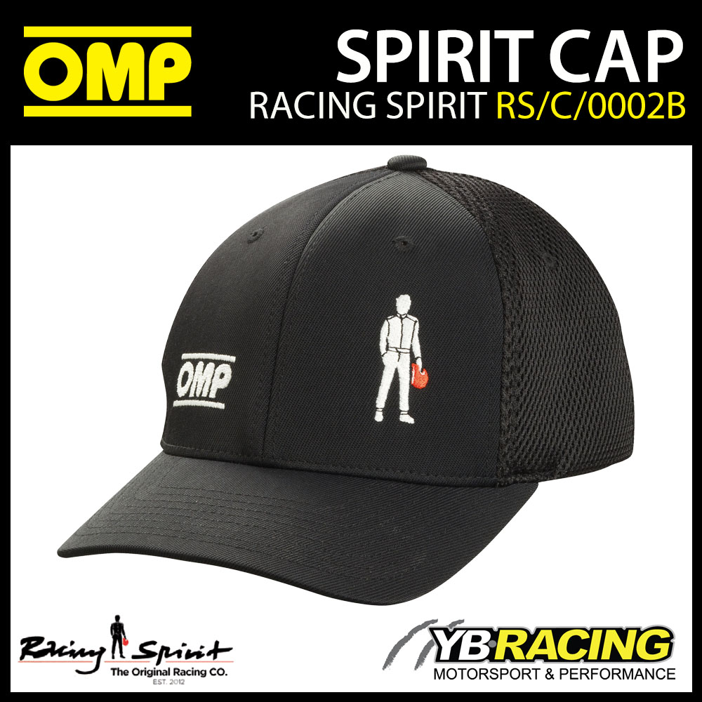 New! OMP Racing Spirit Baseball Cap Black Flexfit System Adult Sizes S/M & L/XL