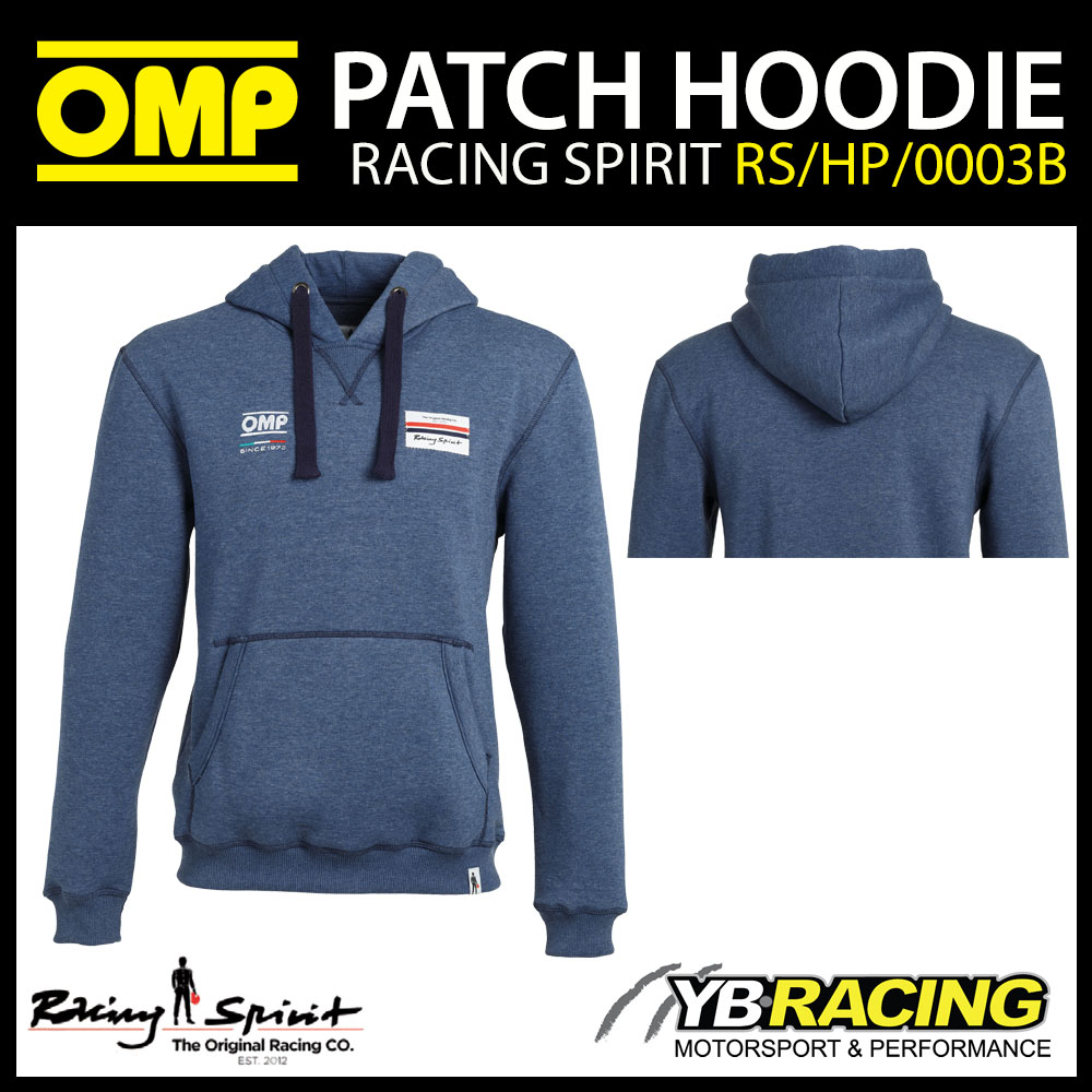 New! OMP Racing Spirit Patch Hoodie Hoody Pullover Jumper in Storm Blue
