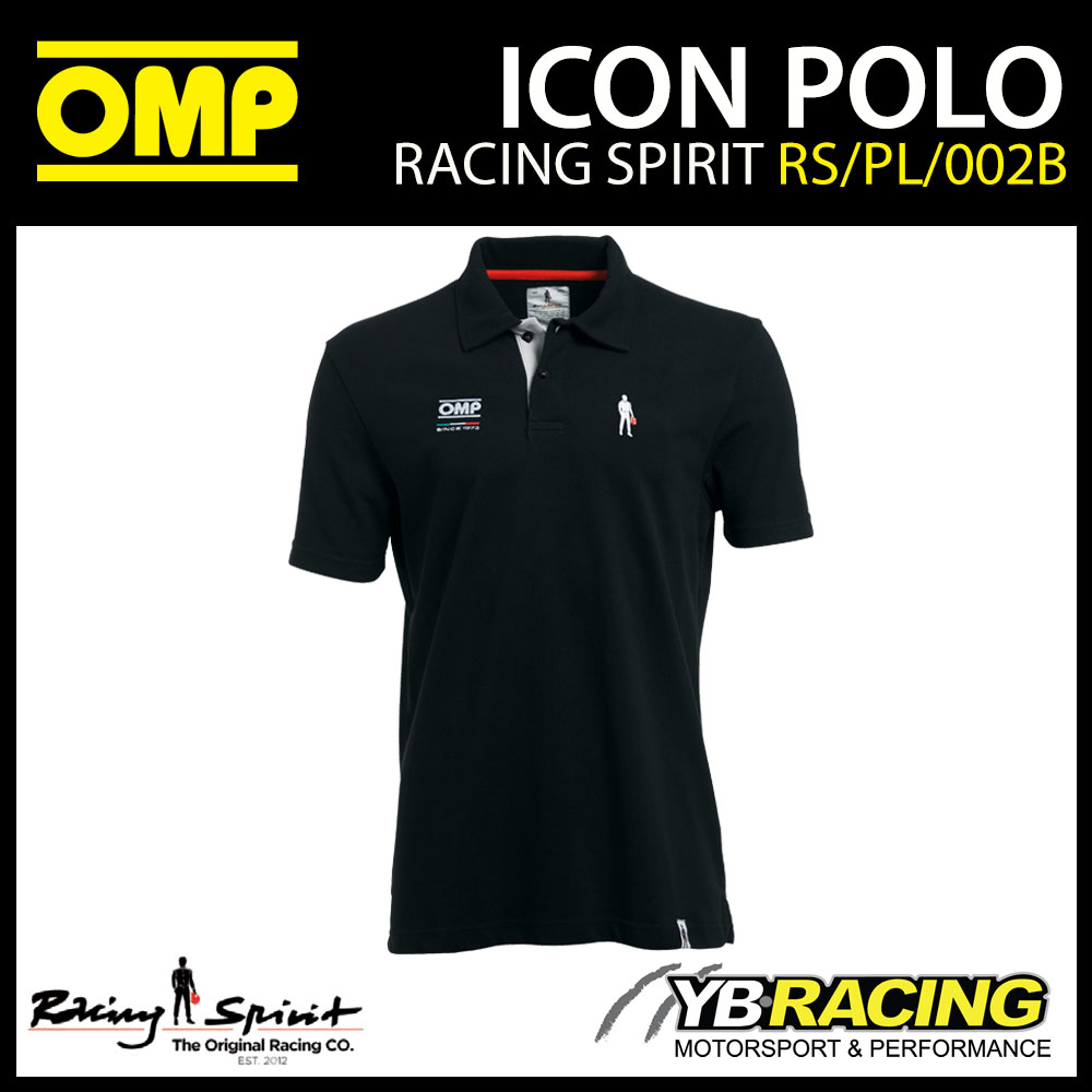 New! OMP Racing Spirit Icon Classy Mens Polo Shirt in Black Teamwear Casualwear