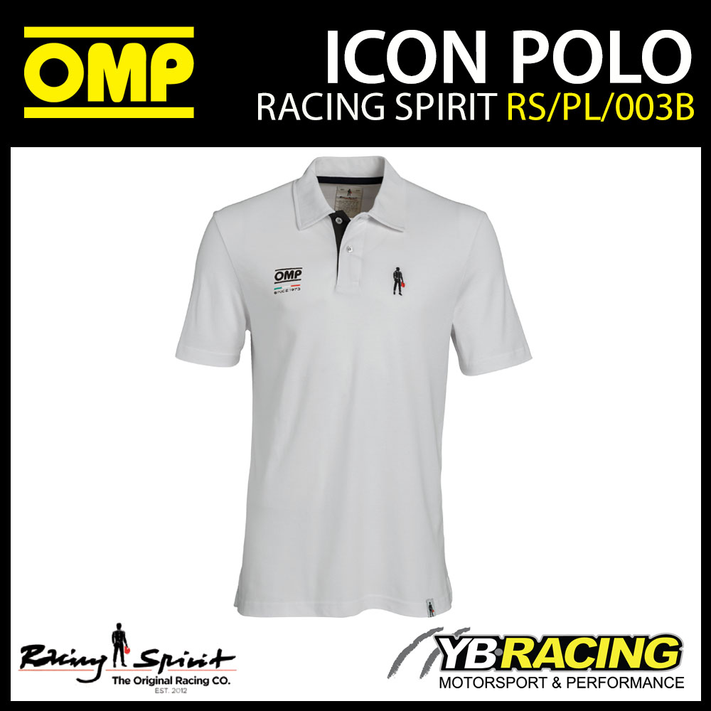 New! OMP Racing Spirit Icon Classy Mens Polo Shirt in White Teamwear Casualwear