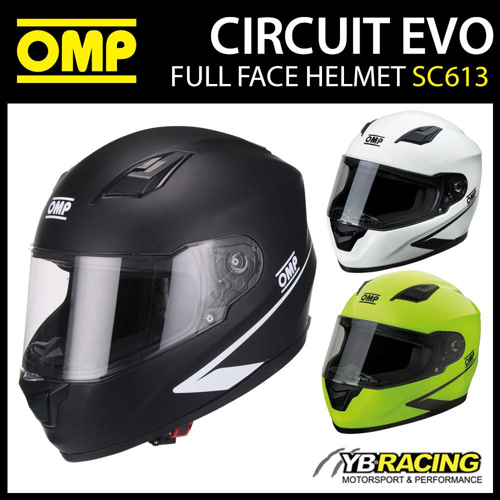 SC613 OMP Circuit EVO Helmet Full Face in 3 Colours XS-XXL Track Day / Karting