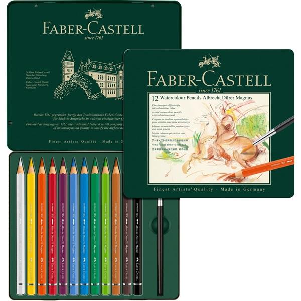 116912 faber castell tin of 12 watercolour pencils set