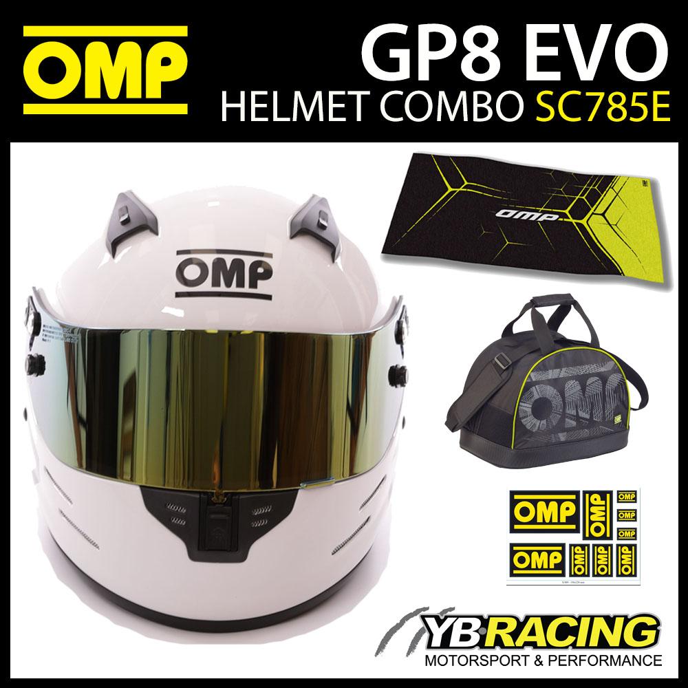 OMP Racing GP8 EVO Helmet Combo Deal inc Extra Visor, Bag, Towel & Decals!
