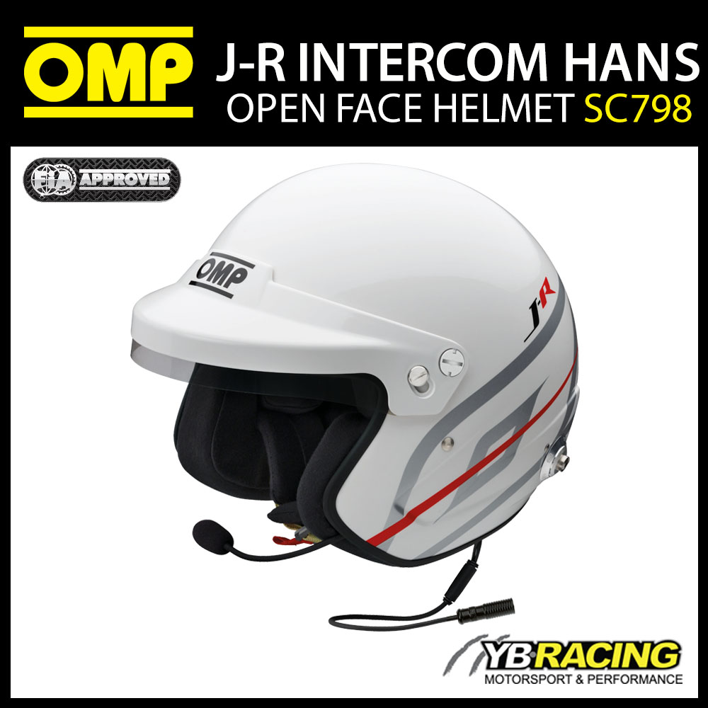 SC798 OMP J-R Rally Helmet Hans Intercom Open Face Race FIA 8859-2015