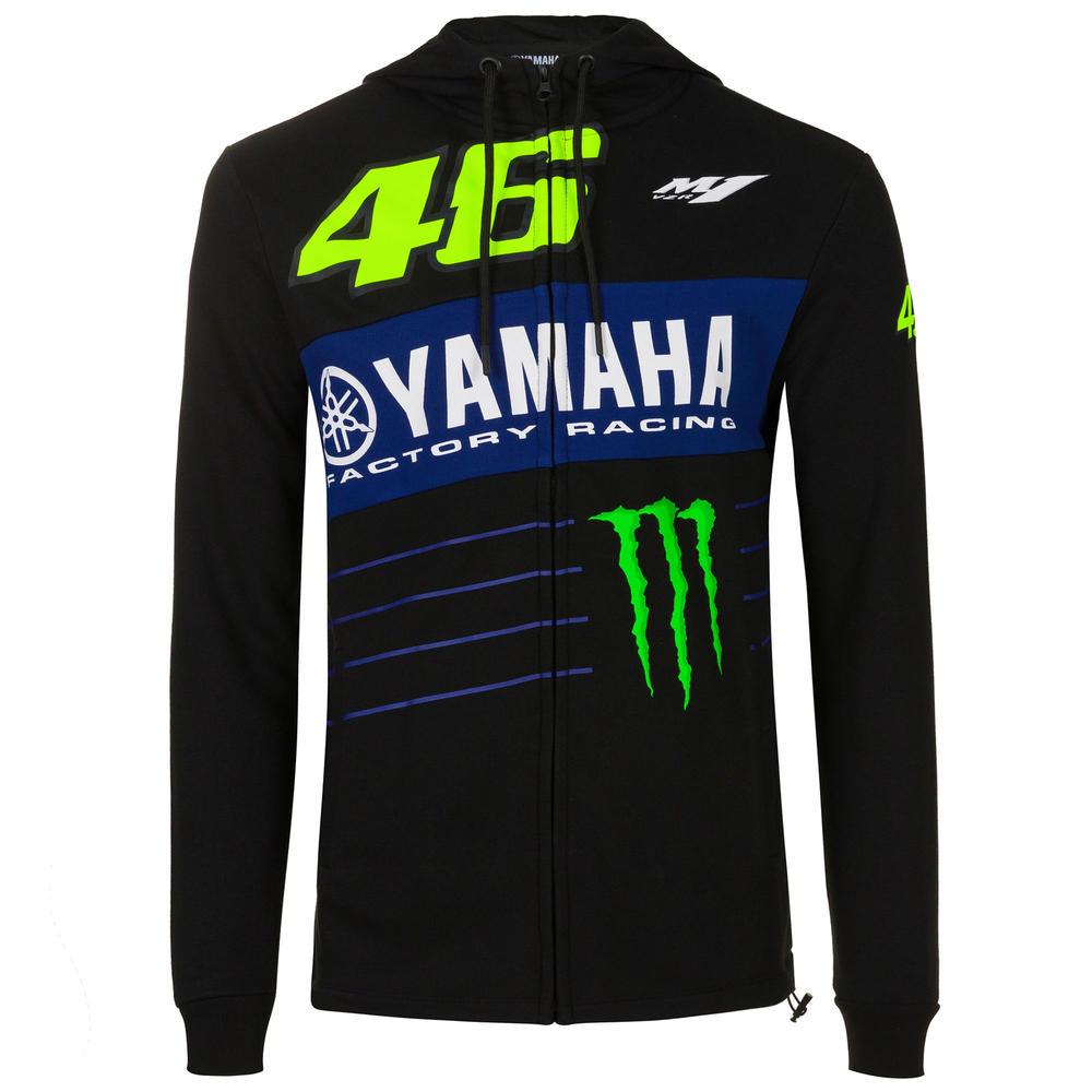 2020 Valentino Rossi Yamaha Racing Factory Mens Full Zip Hoodie Black Size S-XXL