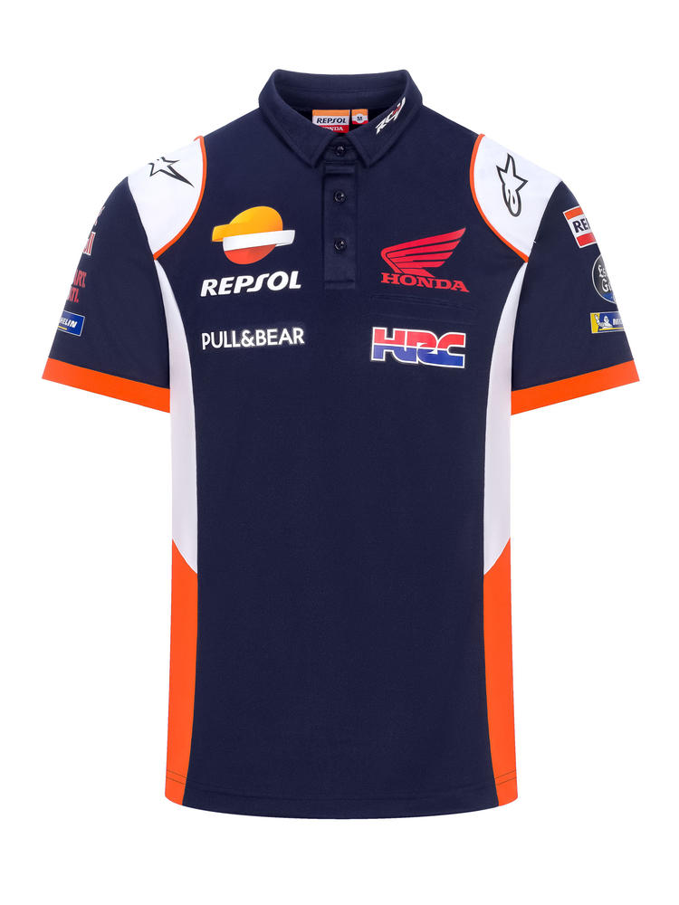 2020 Repsol Honda Team Mens Replica Polo Shirt Blue MotoGP Merchandise Sizes S-XXL