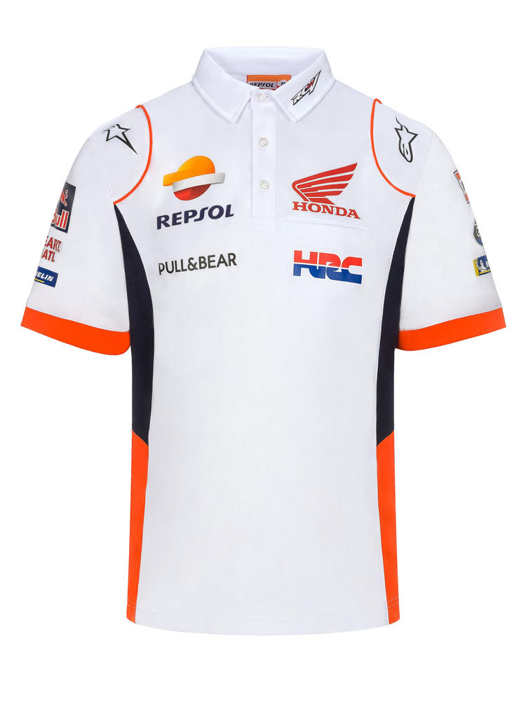 2020 Repsol Honda Team Mens Replica Polo Shirt White MotoGP Merchandise Sizes S-XXL