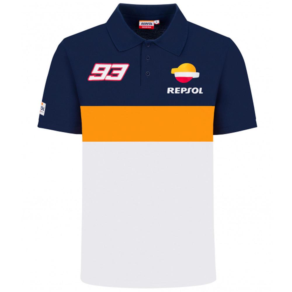 2020 Repsol Honda Team Dual Marc Marquez Mens Polo Shirt White MotoGP Sizes S-XXL