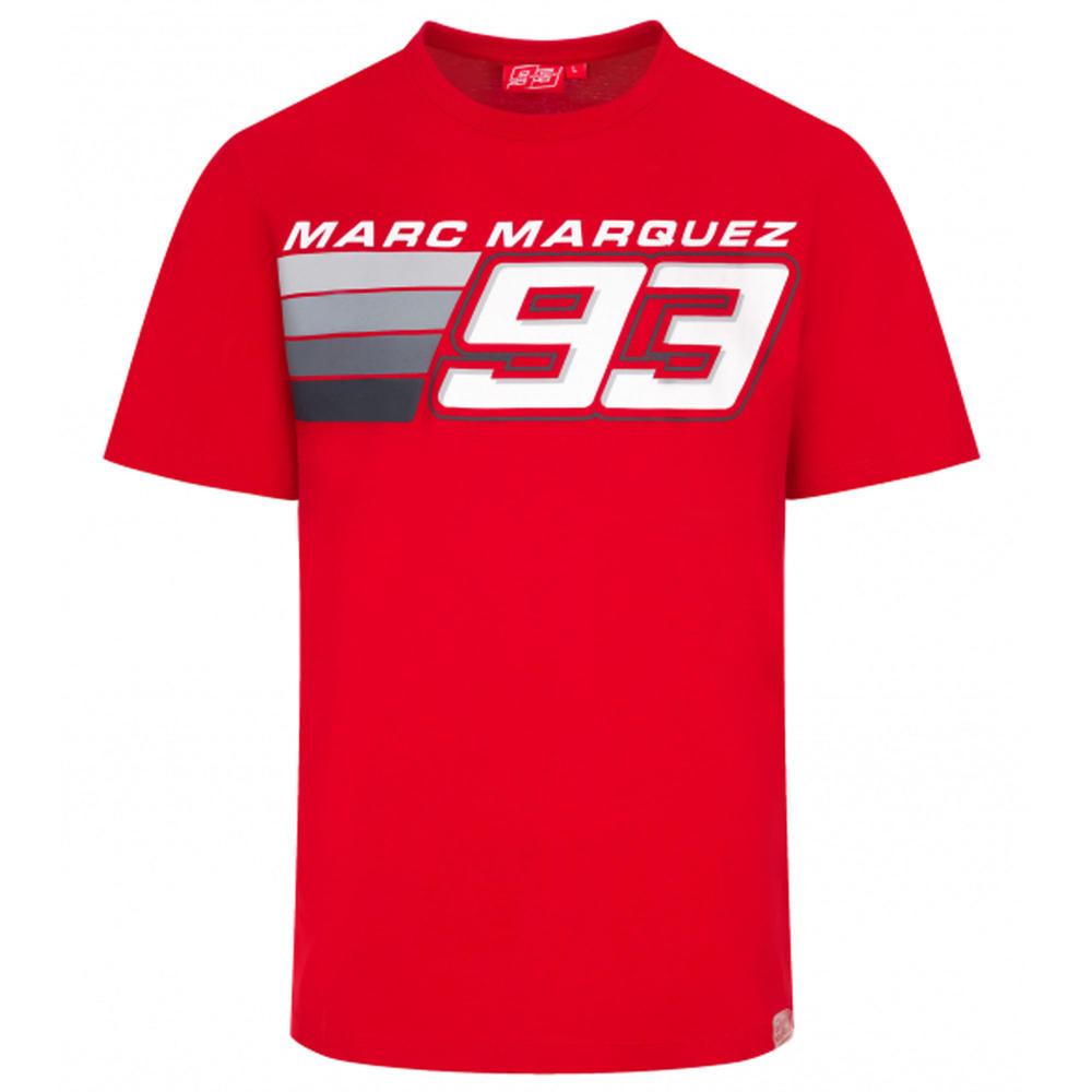2020 Marc Marquez #93 MotoGP Mens T-Shirt Red Striped Official Merchandise S-XXL