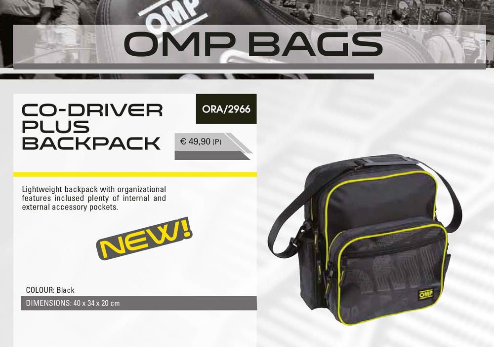ORA/2966 OMP Rally Co-Driver Plus Backpack Carry Bag Navigator / Pit Crew / Team