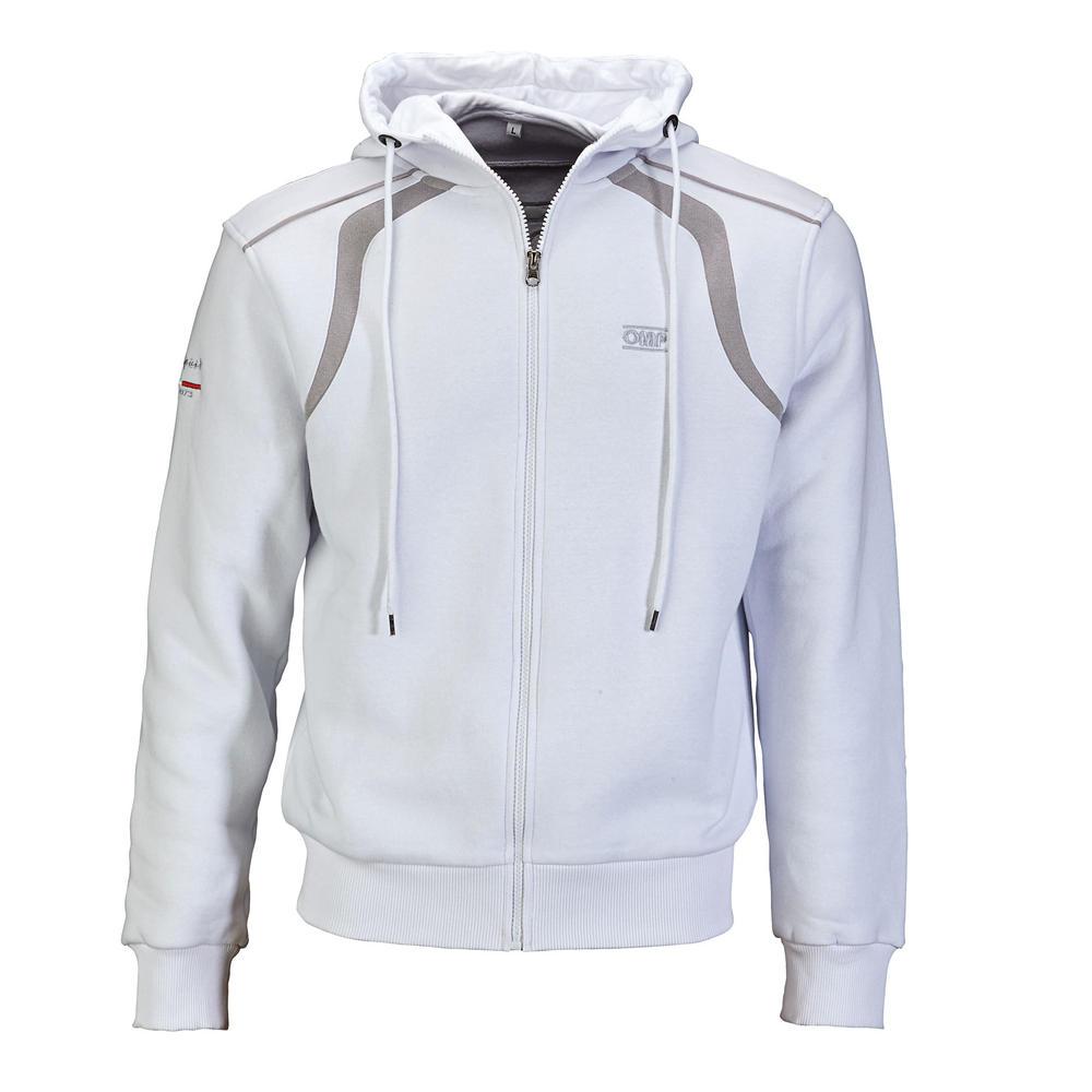 OR5903 OMP Racing Spirit Hoodie Zull Zip Sweatshirt Grey Or White
