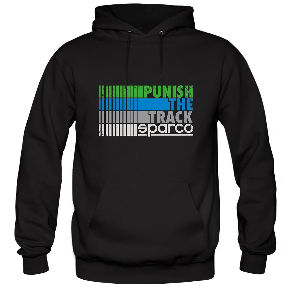 01270 Sparco Racing Hoodie Punish the Track Design Hoody in Black Sizes S-XXL