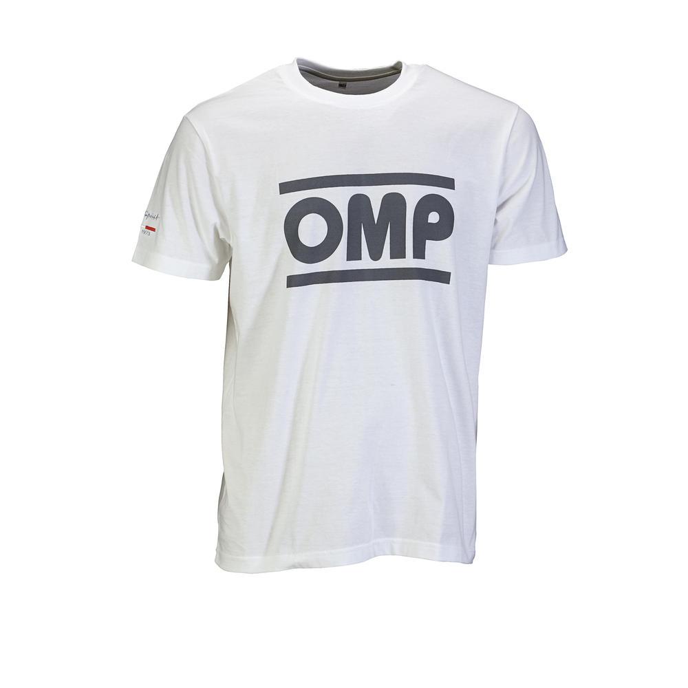 OR5904 OMP Racing Spirit T-Shirt Cotton Fabric White/Grey for Teamwear Pitcrew