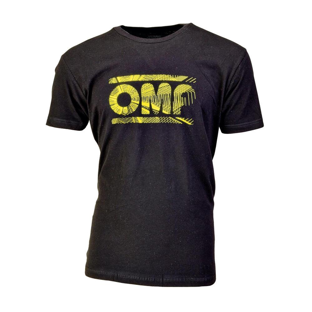 OR5907 OMP Racing Spirit Black Short Sleeve T-Shirt With Large Yellow OMP Logo