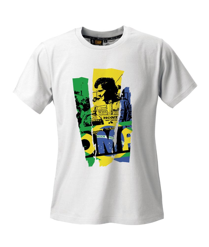 OR5916 OMP Racing Ayrton Senna Classic T-Shirt 100% Cotton Fabric