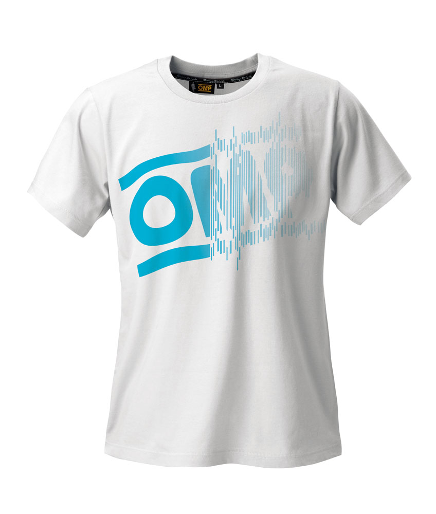 OR5918 OMP Racing Striped Logo T-shirt White Cotton for Teamwear Pitcrew Leisure