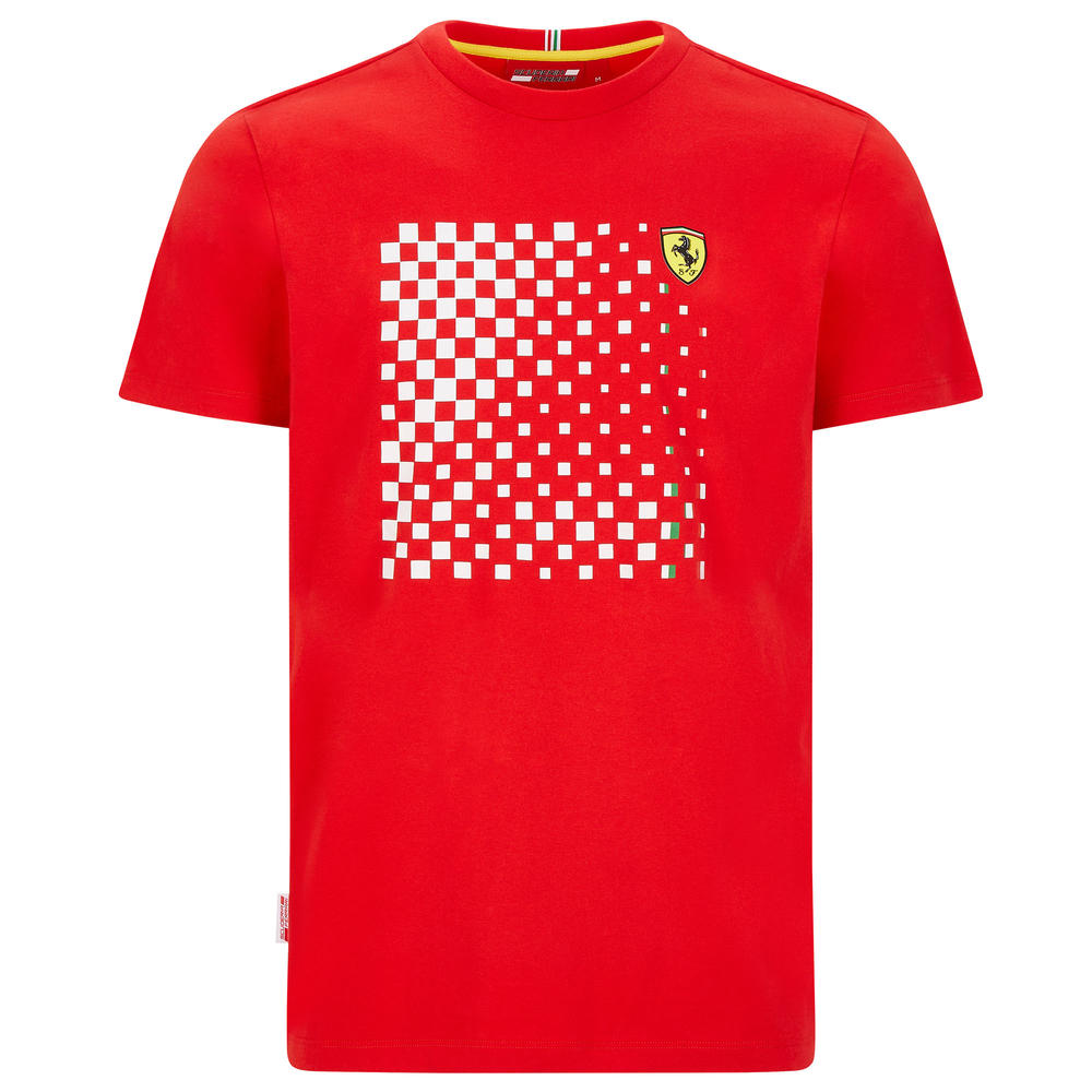 2020 Scuderia Ferrari F1 Fanwear Mens Checkered Graphic T-Shirt Official S-XXL