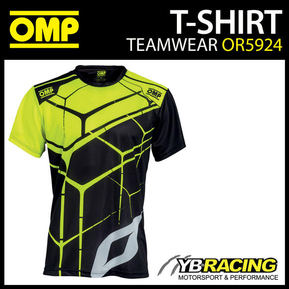 New! OMP Racing Teamwear Fan T Shirt in Black/Fluo Polyester