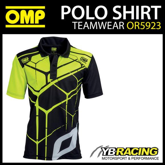 New! OMP Racing Teamwear Fan Polo Shirt in Black/Fluo Polyester