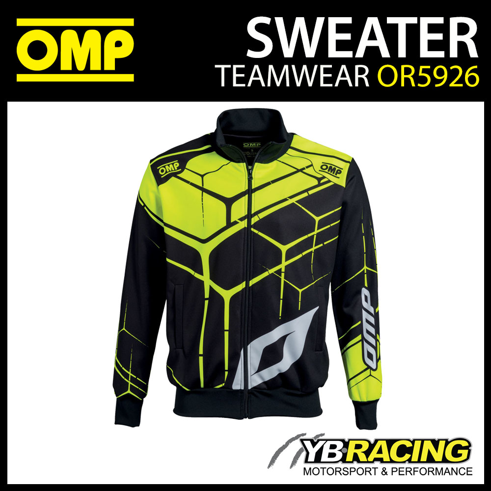 New! OMP Racing Teamwear Full Zip Sweatshirt Jacket in Black/Fluo Polyester