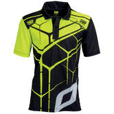 New! OMP Racing Teamwear Fan Polo Shirt in Black/Fluo Polyester Sizes S-XXL