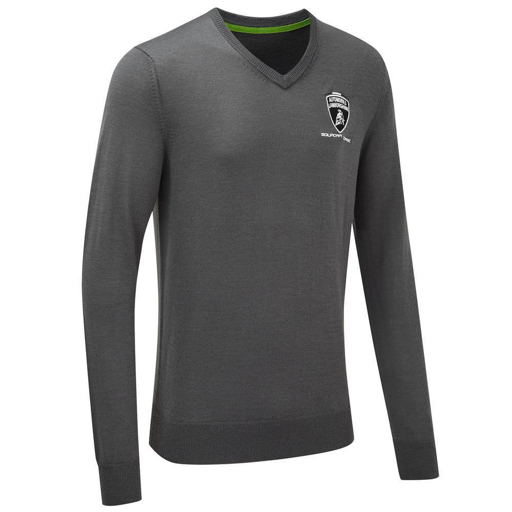 2020 Lamborghini Squadra Corse Mens Knitted Sweatshirt Grey Official Merchandise