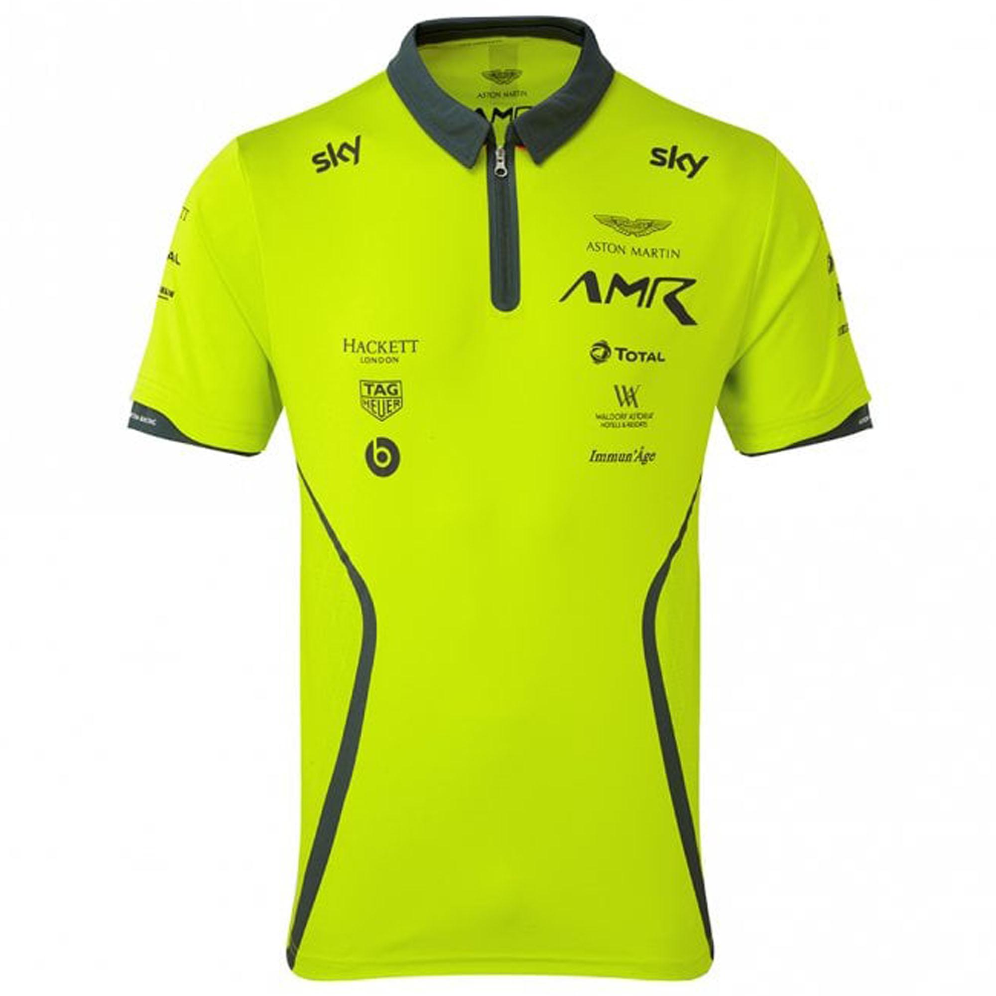 Sale Aston Martin Racing Team Mens Polo Shirt Lime Green Official Merchandise Aston Martin Racing Tifoso F1 Merchandise F1 Store