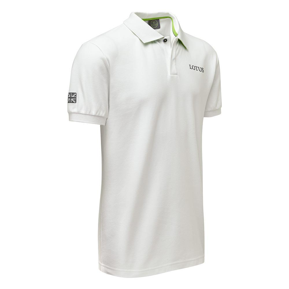 Sale! Classic Lotus Racing Team Mens Polo Shirt White 100% Cotton Pique