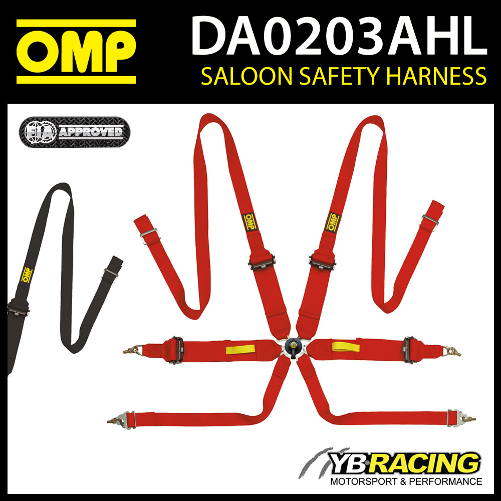 DA0203AHL OMP 2021 TECNICA 6-POINT SAFETY HARNESS BELTS FHR ONLY FIA 8853-2016