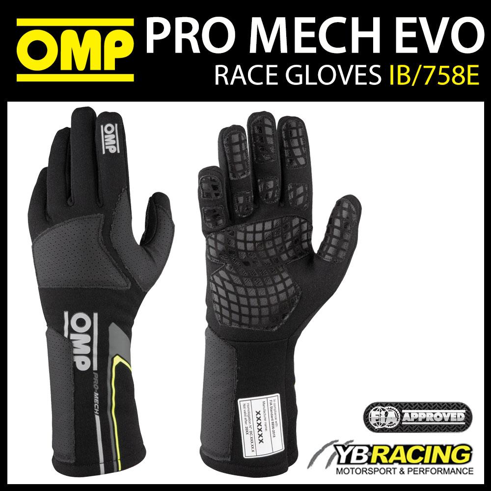 IB/758E OMP PRO MECHANIC GLOVES FIREPROOF MOTORSPORT RACE PITCREW FIA 8856-2018