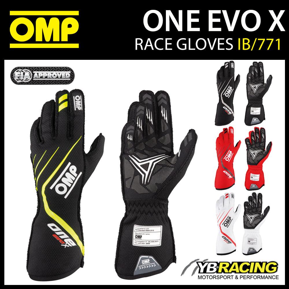 IB/771 OMP EVO X RACING GLOVES PROFESSIONAL RACE RALLY FIA 8856-2018 FIREPROOF