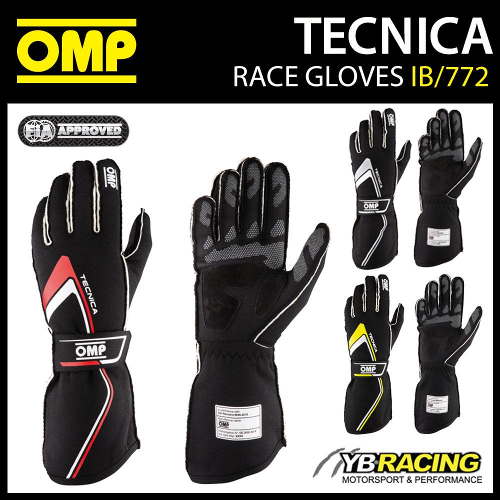 IB/772 OMP TECNICA EVO RACING GLOVES FIA 8856-2018 FIREPROOF MOTORSPORT RALLY