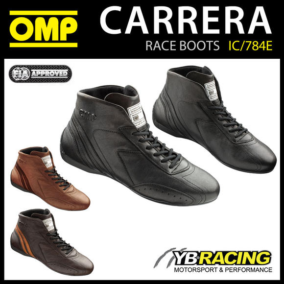 IC/784E OMP CARRERA VINTAGE RACE BOOTS CLASSIC LEATHER FIREPROOF FIA 8856-2018