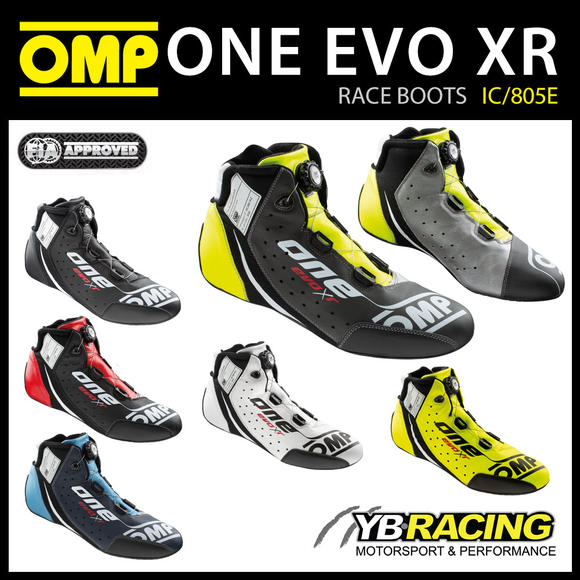 IC/805E OMP EVO X R TOP LEVEL RACE BOOTS LEATHER FIREPROOF FIA 8856-2018 RACING