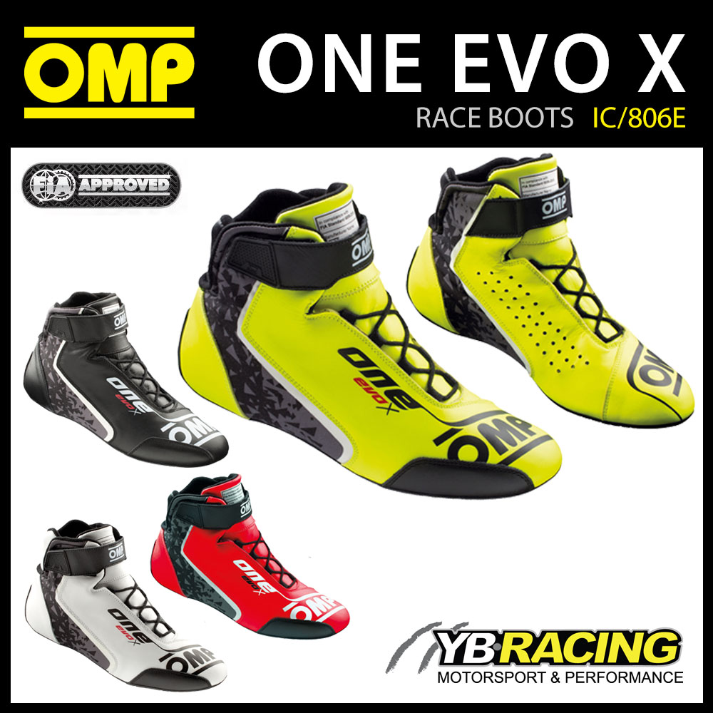 IC/806E OMP EVO X RACE BOOTS PROFESSIONAL RACING DRIVERS FIREPROOF FIA 8856-2018