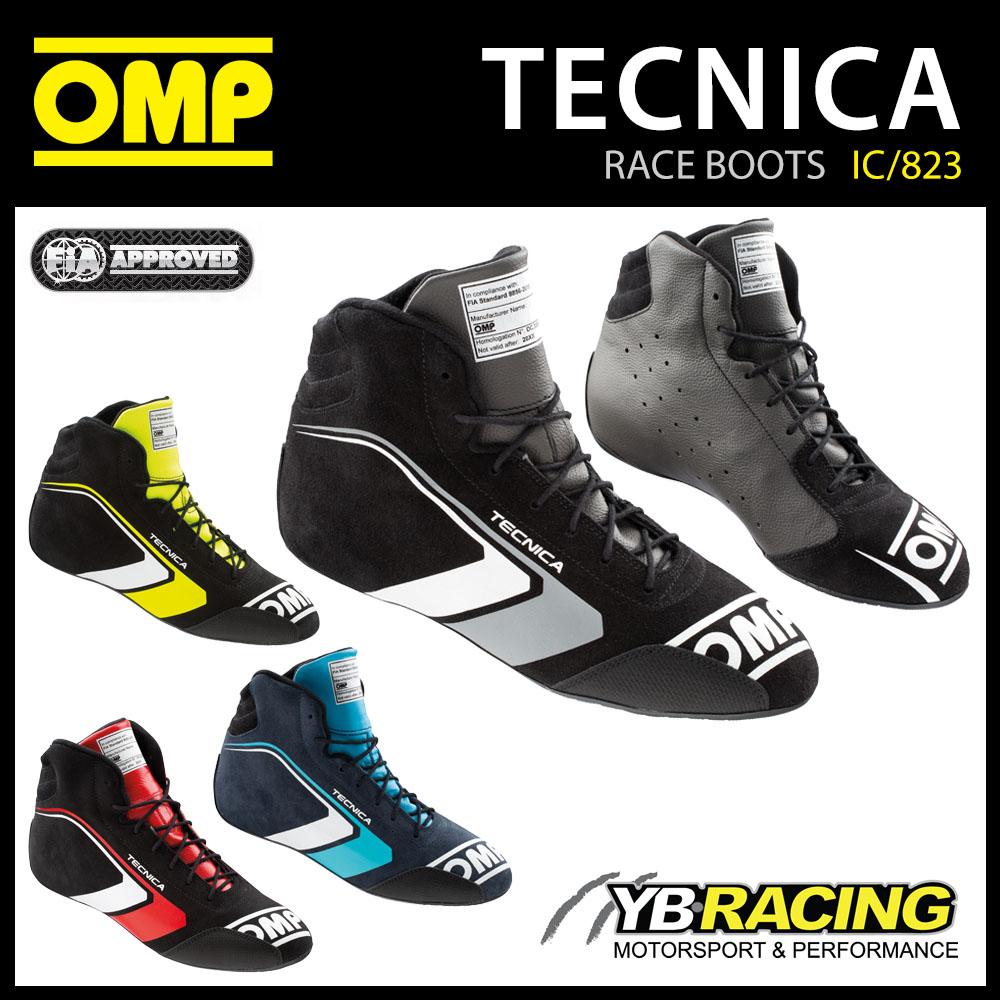 IC/823 OMP TECNICA RACE BOOTS PROFESSIONAL LEATHER SHOES FIREPROOF FIA 8856-2018