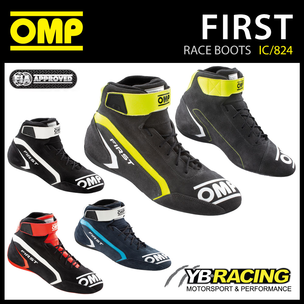 IC/824 OMP FIRST RACE BOOTS ENTRY LEVEL LEATHER FIREPROOF FIA 8856-2018 APPROVED