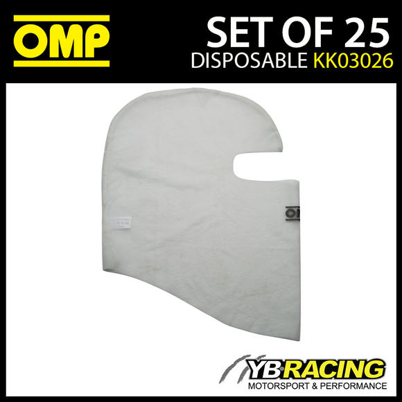KK03026 OMP KARTING BALACLAVA WHITE ONE SIZE PACK OF 25