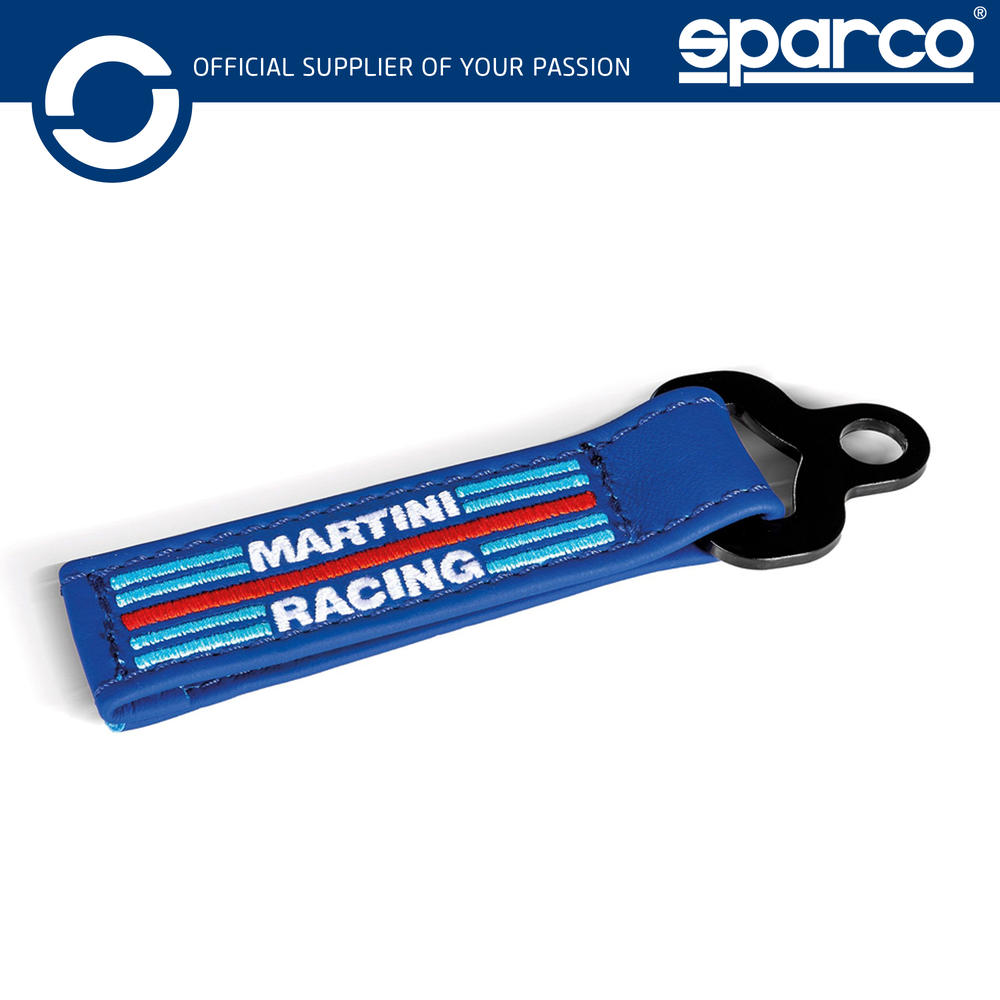 New! 2021 Sparco Martini Racing Leather Keychain Keyring Embroidered Logo Navy